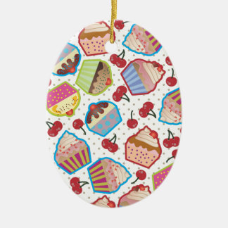 Lotsa Cupcakes n Cherries Oval Ornament