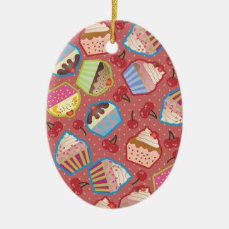 Lotsa Cupcakes n Cherries Pink Oval Ornament