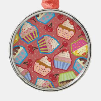 Lotsa Cupcakes n Cherries Pink Round Ornament