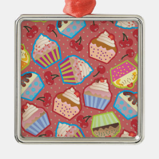 Lotsa Cupcakes n Cherries Pink Square Ornament