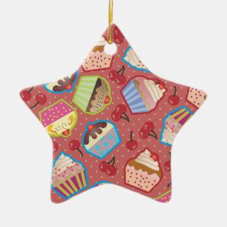 Lotsa Cupcakes n Cherries Pink Star Ornament