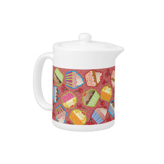 Lotsa Cupcakes n Cherries Pink Teapot