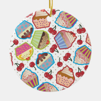 Lotsa Cupcakes n Cherries Round Ornament