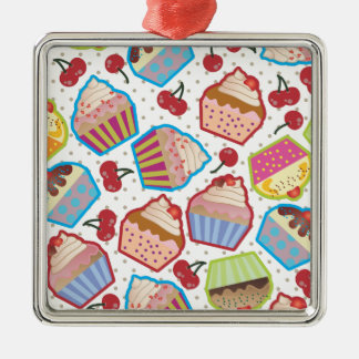 Lotsa Cupcakes n Cherries Square Ornament