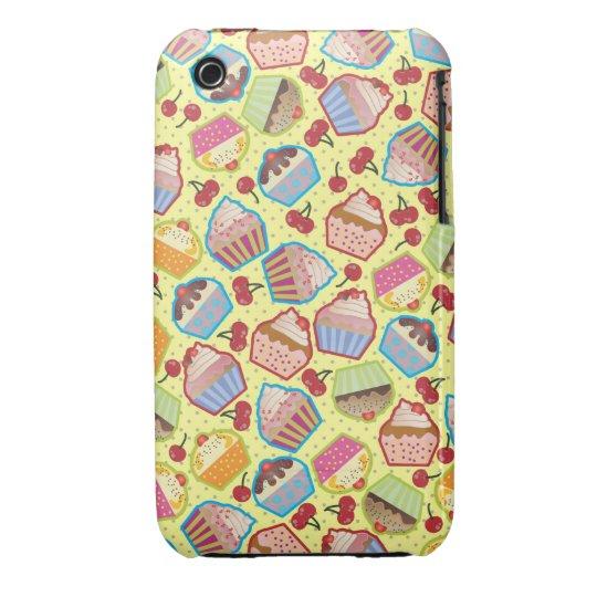Lotsa Cupcakes n Cherries Yellow iPhone 3 Case