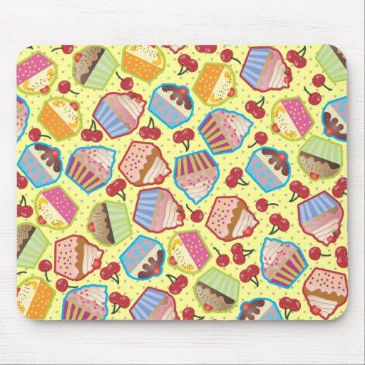 Lotsa Cupcakes n Cherries Yellow Mousepad