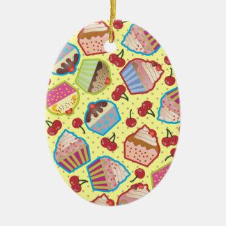 Lotsa Cupcakes n Cherries Yellow Oval Ornament