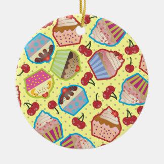 Lotsa Cupcakes n Cherries Yellow Round Ornament