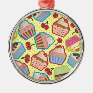 Lotsa Cupcakes n Cherries Yellow Round Ornament