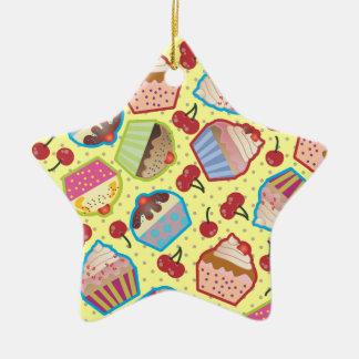 Lotsa Cupcakes n Cherries Yellow Star Ornament