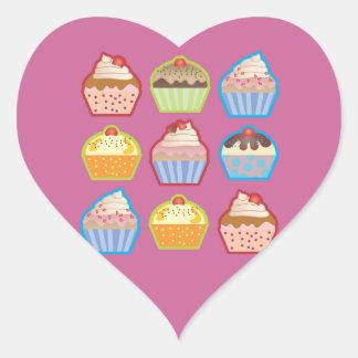 Lotsa Cupcakes Pink Heart Sticker