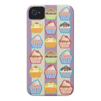 Lotsa Cupcakes Purple Stripes iPhone 4 Case