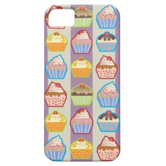 Lotsa Cupcakes Purple Stripes iPhone 5 Case