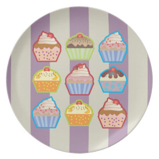 Lotsa Cupcakes Purple Stripes Plate