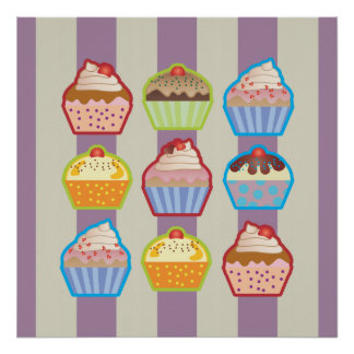 Lotsa Cupcakes Purple Stripes Poster