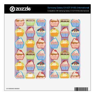 Lotsa Cupcakes Purple Stripes Samsung Galaxy S II Skins