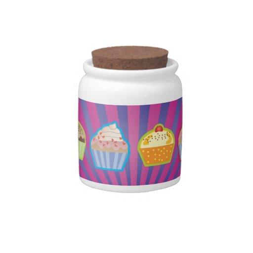 Lotsa Cupcakes Purply Blue Stripes Candy Jar
