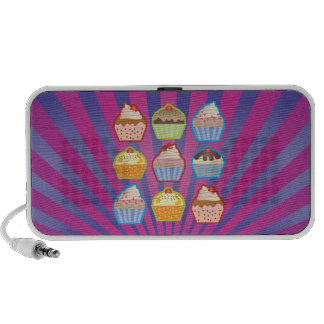 Lotsa Cupcakes Purply Blue Stripes Doodle Speaker