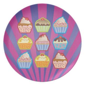 Lotsa Cupcakes Purply Blue Stripes Plate