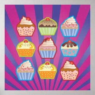 Lotsa Cupcakes Purply Blue Stripes Poster