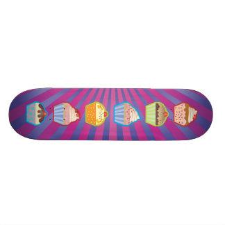 Lotsa Cupcakes Purply Blue Stripes Skateboard