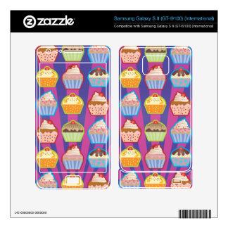 Lotsa Cupcakes Purply Blue Stripes Samsung Galaxy S II Skins