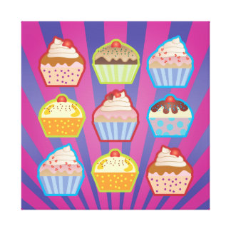 Lotsa Cupcakes Purply Blue Stripes Wrapped Canvas