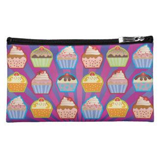 Lotsa Cupcakes Purply Blue Stripes Wristlet