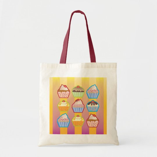 Lotsa Cupcakes Yellowy Pink Stripes Bag