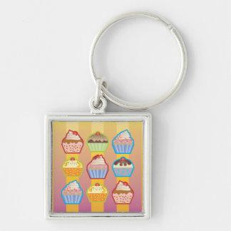 Lotsa Cupcakes Yellowy Pink Stripes Keychain