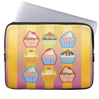 Lotsa Cupcakes Yellowy Pink Stripes Laptop Sleeve