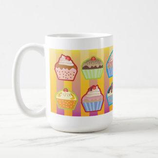 Lotsa Cupcakes Yellowy Pink Stripes Mug