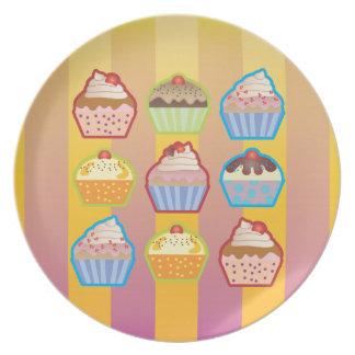 Lotsa Cupcakes Yellowy Pink Stripes Plate