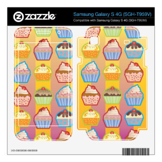 Lotsa Cupcakes Yellowy Pink Stripes Samsung Galaxy S 4G Skin