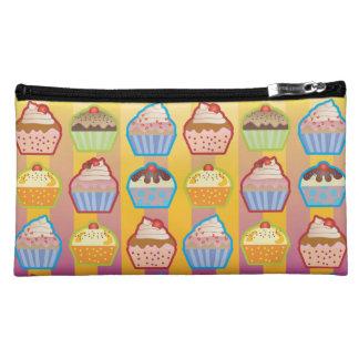 Lotsa Cupcakes Yellowy Pink Stripes Wristlet