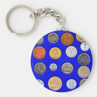lotsa old foreign coins keychain