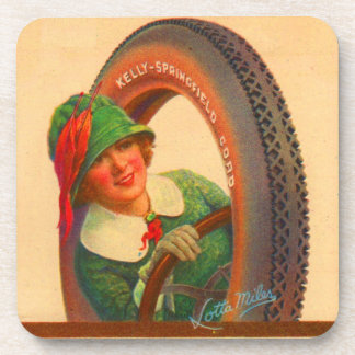 Lotta Miles no. 1- 1920s Kelly-Springfields tire m Drink Coaster