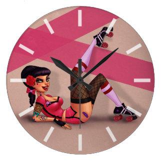 Lotta Payne - Roller Derby Pinup Girl Large Clock