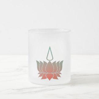 Lotus 10 Oz Frosted Glass Coffee Mug