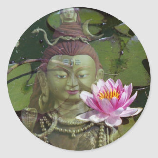 Lotus 1 y Buda Pegatina Redonda