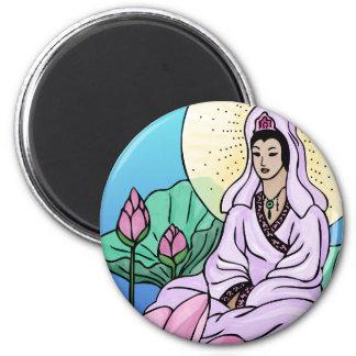 Lotus 2 Inch Round Magnet