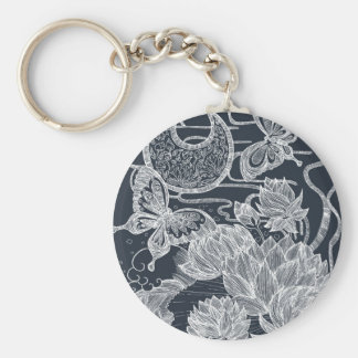 Lotus and Butterfly Basic Round Button Keychain