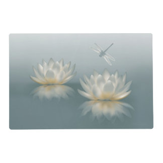 Lotus and Dragonfly Laminated Placemat