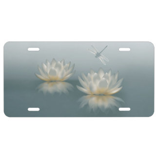 Lotus and Dragonfly License Plate