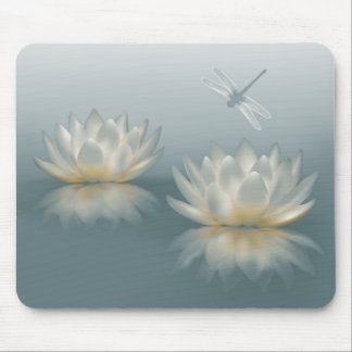 Lotus and Dragonfly Mouse Pad