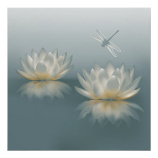 Lotus and Dragonfly Poster