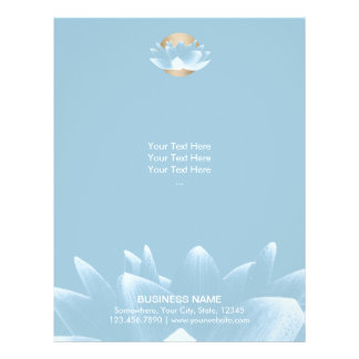 """Lotus azul elegante y oro Sun azul claro Folleto 8.5"""" X 11"""""""