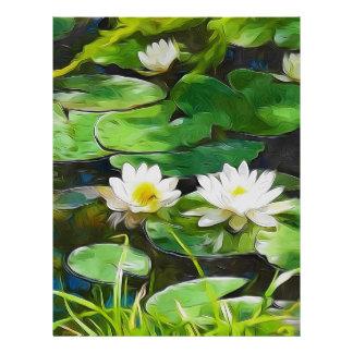 Lotus blanco en la charca membrete a diseño
