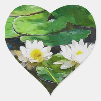 Lotus blanco en la charca pegatinas corazon personalizadas
