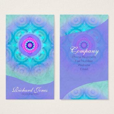 arrayforcards Lotus Bloom Turquoise Mandala ID129 Business Card
